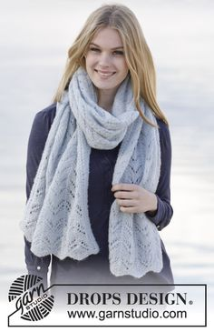 """Free Pattern Knitted DROPS stole with lace pattern in """"Brushed Alpaca Silk""""."""