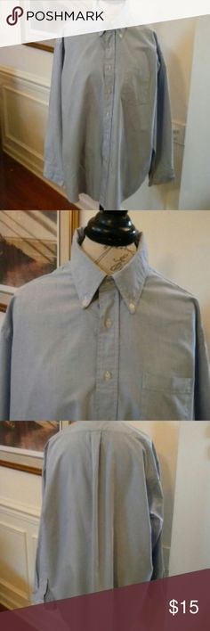 "Men's London Fog ""Big Man"" Shirt Blue SZ 18 London Fog Big Man button down front and collar. Long Sleeve pale blue with white intertwined in fabric. one front pocket. Can be used for career or casual London Fog Shirts"