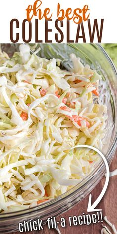 If you're looking to make the very best coleslaw recipe, this copycat Chick-fil-A Cole Slaw is made for you! Creamy and delicious, it's the perfect potluck recipe. Best Coleslaw Recipe, Homemade Coleslaw, Creamy Coleslaw, Creamy Cole Slaw Recipe, Coleslaw Recipes, Healthy Salad Recipes, Vegetable Recipes, Chick Fil A Recipe, Chick Fil A Coleslaw Recipe