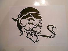 und v.m auf A4 Schablone Skull rauchend  für Textilg