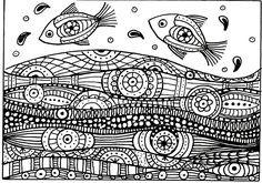 Galerie de coloriages gratuits coloriage-adulte-deux-poissons-vagues-motifs.