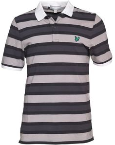 Lyle And Scott Club Mens Engineered Stripe Polo Charcoal £22.73 65% OFF!