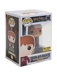 """Mum sends us a jumper every Christmas. And mine's always maroon.  Ron Weasley is given a fun, and funky, stylized look as an adorable collectible vinyl figure - sporting his """"R"""" initialed sweater knitted for him by Mrs. Weasley.  Hot Topic exclusive! Pop! Harry Potter 283 3/4"""" tall"""
