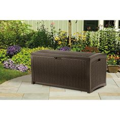 Suncast Resin Wicker 73-Gallon Deck Box - Patio cushions or towels and pool stuff in here? It would match the rest, and make another seat! 89 bucks.