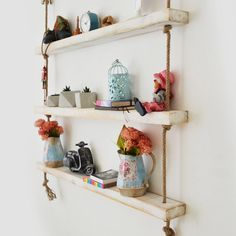 Raft de Perete din Lemn Masiv cu Franghie  CPT1082-100 Custom Jewelry Design, Custom Design, White Floating Shelves, All Wall, Wood Shelves, Natural Wood, Home Accessories, House Design, Handmade