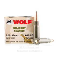 Wolf 7.62x39 Ammo - 1000 Rounds of 124 Grain HP Ammunition #762x39 #762x39Ammo #Wolf #WolfAmmo #Wolf762x39 #HPAmmo #WolfMilitaryClassic