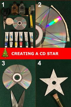 a 5 point star Christmas decoration from an old CD. Step by step guide for upcycling CDs into Christmas decorations.Create a 5 point star Christmas decoration from an old CD. Step by step guide for upcycling CDs into Christmas decorations. Upcycled Crafts, Old Cd Crafts, Recycled Cds, Recycled Art Projects, Diy And Crafts, Crafts For Kids, Cd Diy, Recycled Christmas Decorations, Christmas Crafts