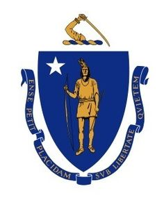 "The Great Seal of the Commonwealth of Massachusetts contains the coat of arms of Massachusetts. The coat of arms is encircled by the Latin text ""Sigillum Reipublicæ Massachusettensis"" (literally, The Seal of the Republic of Massachusetts)."