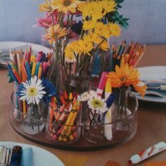 Perfect centerpiece and great to have on hands for kids.  On the table is butcher paper. Thanks Rachel Ray.