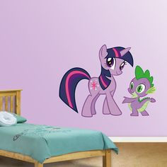 Twilight Sparkle and Spike REAL.BIG. Fathead – Peel & Stick Wall Graphic | My Little Pony Wall Decal | Kids Decor | Bedroom/Playroom/Nursery