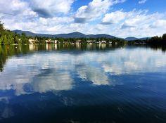 Perfect blue skied day on Mirror Lake in Lake Placid, Adirondacks