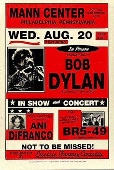 "Bob Dylan Concert Poster 2011 Philadelphia PA • 100% Mint unused condition • Well discounted price + we combine shipping • Click on image for awesome view • Poster is 12"" x 18"" • Semi-Gloss Finish • Great Music Collectible - superb copy of original • Usually ships within 72 hours or less with > tracking. • Satisfaction guaranteed or your money back. Sportsworldwest.com"