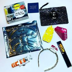 """Our """"shine bright"""" box included: mini bubble light, clutch with earrings or wallet, collagen crystal face mask, pineapple/cactus/unicorn light, Bluetooth speaker, selfie stick, headband, and neon colored pencils. #youmatterbox"""