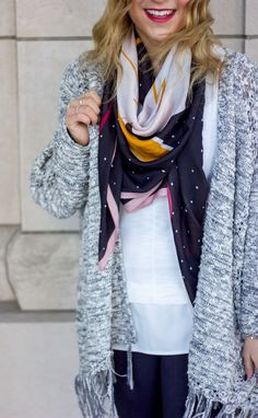 Printed LOFT scarf, grey cardigan from Saks Off Fifth and a tank from J.Crew Factory