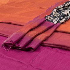 Weavers Studio Valencia Red & Lipstick Purple Ombre Printed Banarasi Tussar Silk 2 Piece Salwar Suit Material with Zari border 10001894 - AVISHYA.COM