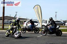 Sean Hadley on a white 2004 Kawasaki 636. Bill Miller on a black 2006 Honda CBR 600.  Joel Gary on a yellow 2004 Kawasaki 636.