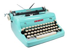Tom Hanks posted a similar 1940s turquoise Royal Quiet De Luxe typewriter last year...