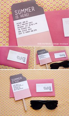 the business cards can be easily customized & printed at home to address envelopes - attach with pretty washi tape?