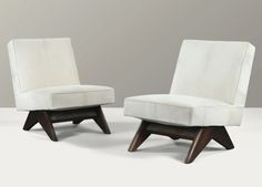 Pierre Jeanneret LOUNGE CHAIRS WITH TEAK FEET BY PIERRE JEANNERET, CIRCA 1952-1956