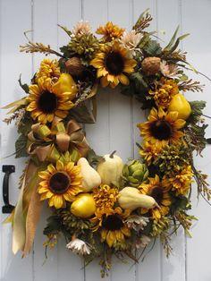 Fall Wreath Tuscan Wreath Thanksgiving Wreath by hollyhillwreaths