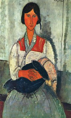 """Happy birthday Amedeo #Modigliani! He was born on this day, 12 July 1884. """"Gypsy Woman with Baby"""" is on view @ngadc."""