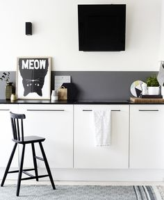 By Weekday Carnival | Black, White and Grey Kitchen | Meow Poster by Mini and Maximus