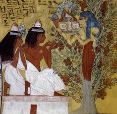 'Tree goddess in Sennedjem's tomb at Luxor.' A mural in the tomb of Sennedjem at Luxor portrays the tree goddess Nut appearing from a sycam. Ancient Egyptian Art, Ancient History, Art History, Luxor, Valley Of The Kings, Egypt Art, African History, Gods And Goddesses, Archaeology