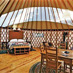 mongolian yurt interior, treebone's resort, big sur, ca