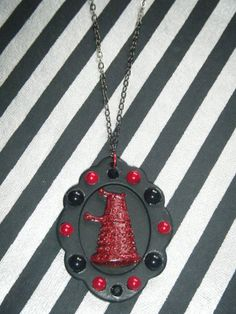 D is for Dalek sparkly red Dalek on black Doctor by indieodyssey, $10.00
