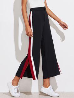 Shop Color Block Tape Side Slit Pants online. SheIn offers Color Block Tape Side Slit Pants & more to fit your fashionable needs.