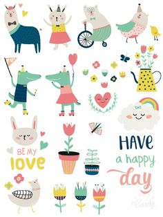 Spring Love - sticker printable #sticker#printable#cute#lovely#animals#scrapbooktools#free#diy#handmade#candycameraapp