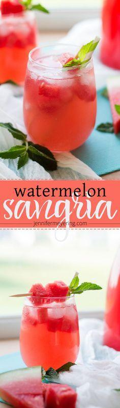 Watermelon Sangria   JenniferMeyering.com                                                                                                                                                      More