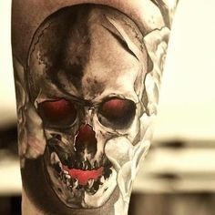 Red Eye Skull Tattoo