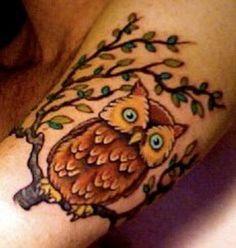 Brown Owl On Tree Tattoo