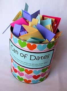 My Creative Stirrings: Creative Wedding Gift Idea- Can of Dates