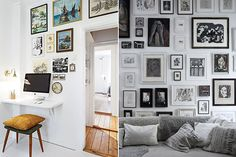If you're still unsure about building your own art gallery wall, here are plenty moreexamples to help inspire you.Lots of youhave been asking how I putthe gallery walltogether in my son's room. Here is a helpful tip. Trace each frame onto kraft paper, label them and cut them out. Tape them