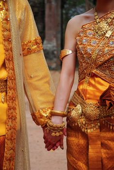 A beautiful picture of Cambodian wedding attire.
