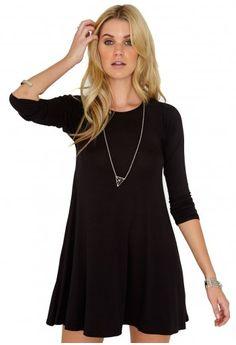 Missguided - Mikita Long Sleeve Swing Dress In Black