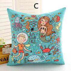 Cartoon mermaid princess throw pillows beautiful underwater world sofa cushions