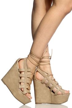 270e26bbd7f733 Natural Faux Leather Lace Up Open Toe Heels   Cicihot Wedges Shoes Store Wedge  Shoes