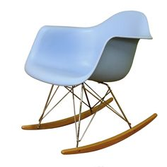 Baxton Studio Dario Blue Plastic Mid-Century Modern Rocking Chair