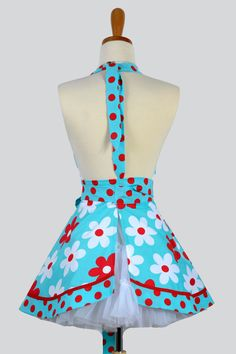 Sweetheart Retro Apron / Red and Aqua Lil Plain by CreativeChics