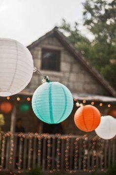 Teal and Orange Wedding Ideas. Great for a bohemian or beach wedding.