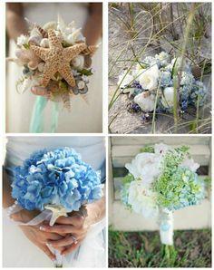 Beach wedding bouquets I really love the seashell one