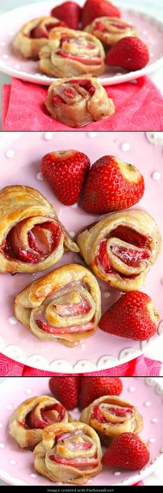 Lazy Strawberry Cinnamon Rolls  #breakfast #cinnamonrolls #strawberries