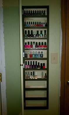 Hidden nail polish cabinet: there is a canvas door on the front