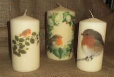 My favourite little bird! Some of my decorated Robin candles to cheer the Winter table and hearth. See more of my napkin decoupage work on www.facebook.com/... and in my Folksy shop folksy.com/shops/YourLovelyHome