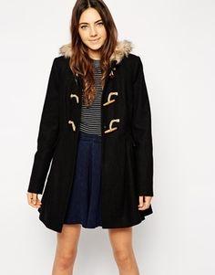 ASOS Faux Fur Hooded Duffle Coat - Black