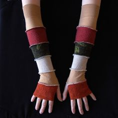 Arm Warmers Gloves Mittens Fingerless Made from by annawoz on Etsy