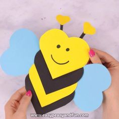 This heart bee craft is both a craft and a super cute Valentines day card kids c. This heart bee craft is both a craft and a super cute Valentines day card kids c. Valentine's Day Crafts For Kids, Valentine Crafts For Kids, Valentines Diy, Projects For Kids, Diy For Kids, Holiday Crafts, Craft Projects, Craft Ideas, Arts And Crafts For Kids Toddlers
